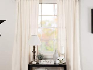 Vhc Farmhouse Panel Pair Curtains Rod Pocket Tie Back s  Burlap Antique White