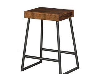 Carbon loft Mattison live Edge Square Non Swivel Backless Counter Stool