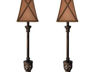 MESTAR Traditional Bronze Buffet lamps   Set of 2