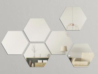 Walplus Minimalist 6 Hexagon Acrylic Wall Mirror Tiles DIY Home Decor