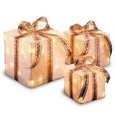 White Sisal Pre lit 3 Present Boxes