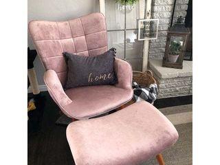 Carson Carrington Aasen Contemporary Silky Velvet Tufted Accent Chair w  Ottoman