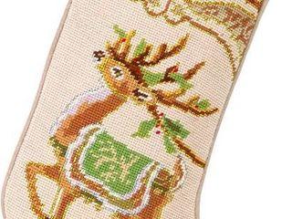 Peking Handicraft Christmas Reindeer Needlepoint Stocking  11x18