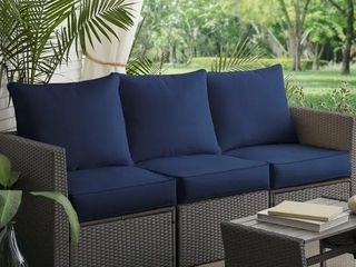 1 seat cushion  1 back cushion  Clara Indoor  Outdoor Wicker cushions made with Sunbrella Fabric  Navy
