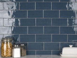 1 sample tile  SomerTile 2 88 x 5 88 Inch Rook Glossy Denim Ceramic Wall Tile SAMPlE