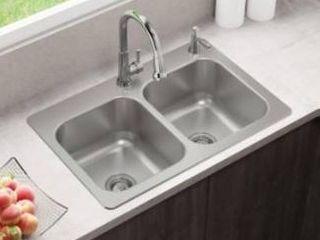 Elkay lwfdb332292 Stainless Steel Double basin Drop in 2 hole Kitchen Sink