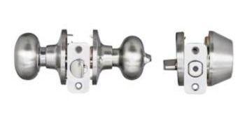 Reliabilt baron satin nickel single cylinder deadbolt keyed entry door knob 2 pack