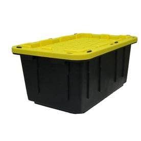 Centrex Plastics  llC Commander 17 Gallon Black Tote with Standard Snap lid  bent and no lids