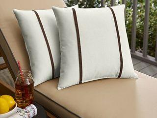 2 pillows  Sunbrella Canvas Natural  Canvas Bay Brown Indoor Outdoor Pillows