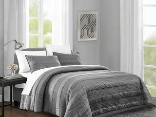 Wonderful striped cotton reversible quilt titanium Gray queen