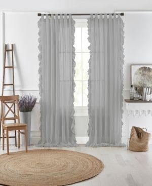 1 panel  Bella Tab Top Ruffle Sheer Window Curtain  52 x84    Gray