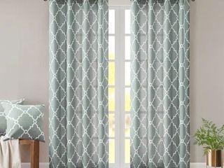 Madison Park Westmont Fretwork Print Pattern Single Curtain Panel Seafoam