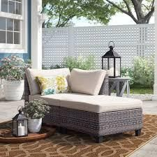 patio corner chair and ottoman grey as is