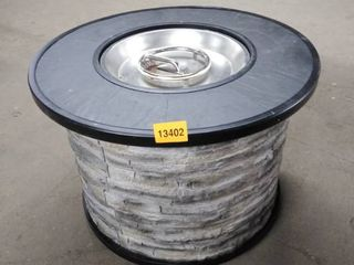 fire pit round black and grey