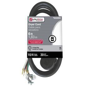 Utilitech 6 ft 10 4 Black Plastic Power Cord