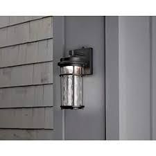 Allen   Roth Clear Spring 13 5 in H Black led Outdoor Wall light