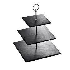 MAlACASA  Series Sweet time  3 Tiered Cupcake Tower Stand Slate Serving Trays Dessert Stand