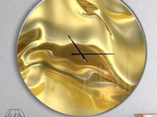 Designart  Golden Cloth Texture  Oversized Modern Wall Clock  38in