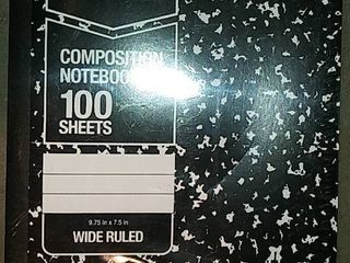 College Ruled Composition Notebook 100 Sheet Marble Black 4 pack