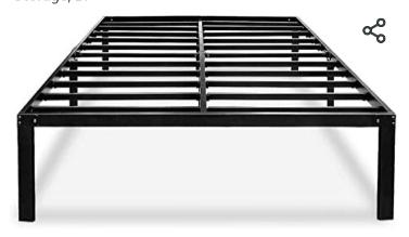 Metal Platform Bed Frame Full with Storage 14 Inch Heavy Duty Beds Steel Slat Frames Standard Size  HAAGEEP AF   Not Inspected
