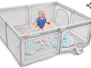 ANGElBlISS Baby playpen  Playpens for Babies  Kids Safety Play Center Yard Portable Playard Play Pen with gate for Infants and Babies Extra large Playard  Indoor and Outdoor  Anti Fall Playpen Gray    Not Inspected