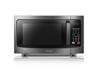 Toshiba Smart Sensor lED light 1 5 Ft Stainless Convection Microwave Oven  Black   Not Inspected