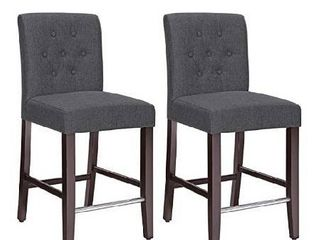 SONGMICS Set of 2 Counter Stools Kitchen Breakfast Chairs  with Button Tufted Backrest  linen Style Fabric  Solid Wood legs  with Footrest  Dark Gray   Seat height  24
