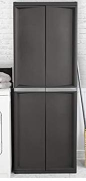 Sterilite 4 Shelf Cabinet Black   Not Inspected