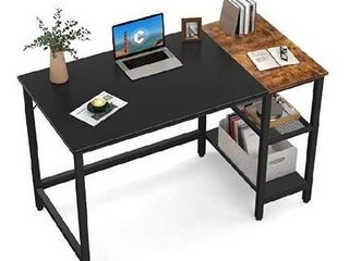 CubiCubi Computer Home Office Desk  40 Inch Small Desk Study Writing Table with Storage Shelves  Modern Simple PC Desk with Splice Board  Espresso and Black