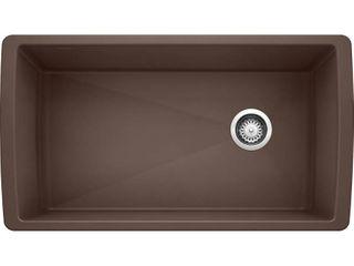 BlANCO  CafAAc Brown 441771 DIAMOND SIlGRANIT Super Single Undermount Kitchen Sink  33 5  X 18 5