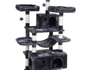 BEWISHOME large Cat Tree Condo with Sisal Scratching Posts Perches Houses Hammock  Cat Tower Furniture Kitty Activity Center Kitten Play House Grey MMJ03B
