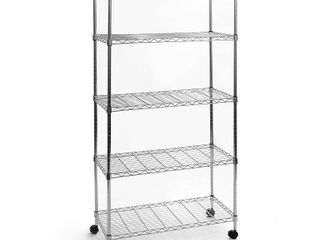 Seville Classics 5 Tier Steel Wire Shelving with Wheels  30  W x 14  D  Chrome
