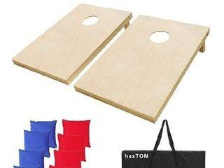 haxTON Cornhole Boards Premiun Cornhole Sets Tournament Size Solid Wood 4 2 3 2  Cornhole Game Portable Cornhole Game Wood Cornhole Boards Set Include 8 Game Bags  3  X 2  Solid Wood
