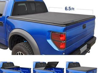Tyger Auto T3 Soft Tri Fold Truck Bed Tonneau Cover for 2004 2008 Ford F 150  2005 2008 lincoln Mark lT Styleside 6 5  Bed TG BC3F1017  Black