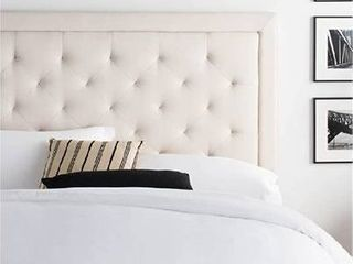 lUCID Bordered Upholstered Headboard with Diamond Tufting  King California King  Pearl