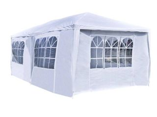 AlEKO APT20X10GAZEBO Outdoor Event Canopy Tent Shelter Wedding Party 20 x 10 x 8 5 Feet White   Not Inspected