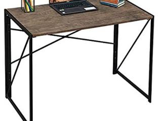 Writing Computer Desk 39  Modern Simple Study Desk Industrial Style Folding laptop Table for Home Office Notebook Desk Brown Desktop Black Frame   Not Inspected