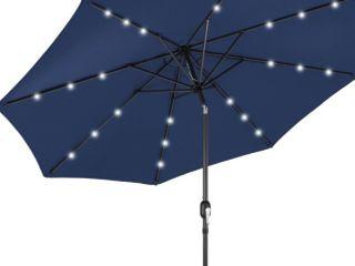 FRUITEAM Solar Patio Umbrella Outdoor lED Umbrella  7 1 2 FT Table Umbrella with lights Heavy Duty Patio Umbrella with Sturdy Ribs  Crank  Easy Tilt Adjustment  Navy Blue