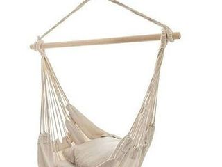 690GRAND Hammock Chair Hanging Swing with Cotton Canvas and Hardwood Spreader for Bedroom Porch Patio