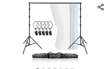 limoStudio Premium  9 feet 10 5 inch Wide x 9 3 feet Tall  Curtain Style Background Support System  Sturdy Backdrop Stand with 5 pcs Ring Clip Holder for Photography  Family Event  AGG3003   Not Inspected