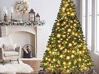 OurWarm 7ft Pre lit PVC Artificial Christmas Tree Xmas Pine Tree for Indoor Outdoor Holiday Decorations with 400 lED lights  1430 Branch Tips  Foldable Metal Stand  Green