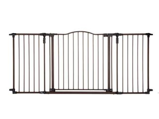 Toddleroo by North States 72AaA wide Deluxe DAAccor Baby Gate  Sturdy extra wide baby gate with one hand operation  Hardware Mount  Fits 38 3   72AaA Wide   30  Tall  Matte Bronze
