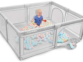 ANGElBlISS Baby playpen  Playpens for Babies  Kids Safety Play Center Yard Portable Playard Play Pen with gate for Infants and Babies Extra large Playard  Indoor and Outdoor  Anti Fall Playpen Gray