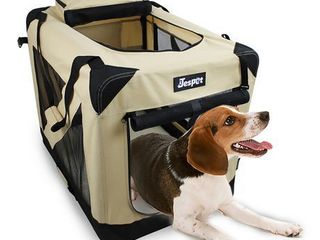JESPET Soft Dog Crates Kennel for Pets  3 Door Soft Sided Folding Travel Pet Carrier with Straps and Fleece Mat for Dogs  Cats  Rabbits  Grey Blue   Beige  30  l x 21  W x 23  H  Beige