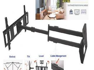 FORGING MOUNT long Arm TV Mount Dual Articulating Arm Full Motion Wall Mount TV Bracket with 43 inch Extension Fits 42 90 Inch Flat Curve TVs  Holds up to 132 lbs VESA600x400mm Added 8ft HDMI Cable