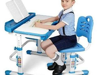 SIMBR Kids Desk and Chair Set  Height Adjustable Ergonomic Student Study Desk and Chair Set with large Storage Drawer  Bookstand  55AATilted Desktop  Metal Hook for Boys Girls