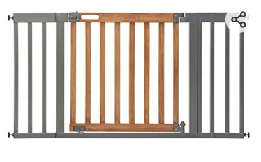 Summer West End Safety Baby Gate  Honey Oak Stained Wood with Slate Metal Frame Aaa 30AaA Tall  Fits Openings up to 36AaA to 60AaA Wide  Baby and Pet Gate for Wide Spaces and Open Floor Plans   Not Inspected