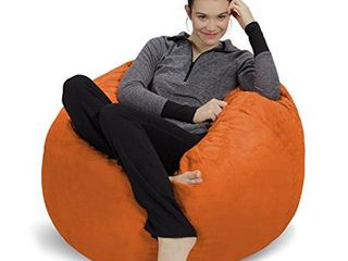 Sofa Sack   Plush  Ultra Soft Bean Bag Chair   Memory Foam Bean Bag Chair with Microsuede Cover   Stuffed Foam Filled Furniture and Accessories for Dorm Room   Tangerine 3
