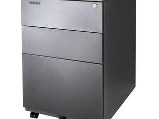 Aurora Modern SOHO Design 3 Drawer Metal Mobile File Cabinet with lock Key Sliding Drawer SlIGHT DAMAGE NOT FUllY INSPECTED OUTSIDE BOX