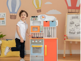 Teamson Kids little Chef Florence Classic Kids Play Kitchen Toddler Pretend Play Set with Accessories  2 Drawers  and Clock Coral Red Twilight   Not Inspected